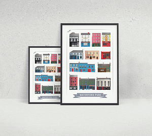 12 Pubs of Waterford Print